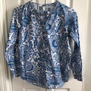 J. Crew raglan floral popover blue 00 paisley top